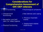 considerations for comprehensive assessment of oif oef veterans