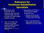 relevance for vocational rehabilitation specialists