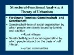 structural functional analysis a theory of urbanism