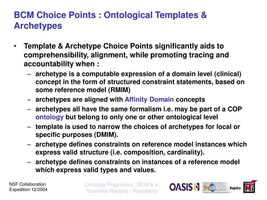 BCM Choice Points : Ontological Templates & Archetypes