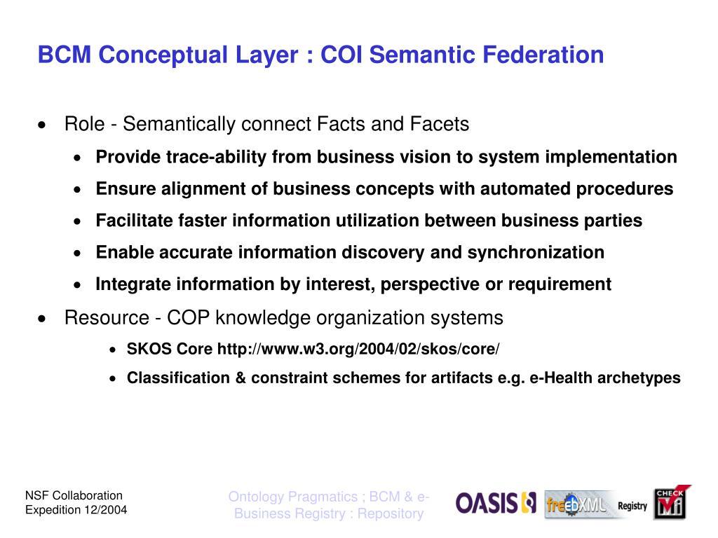 BCM Conceptual Layer : COI Semantic Federation