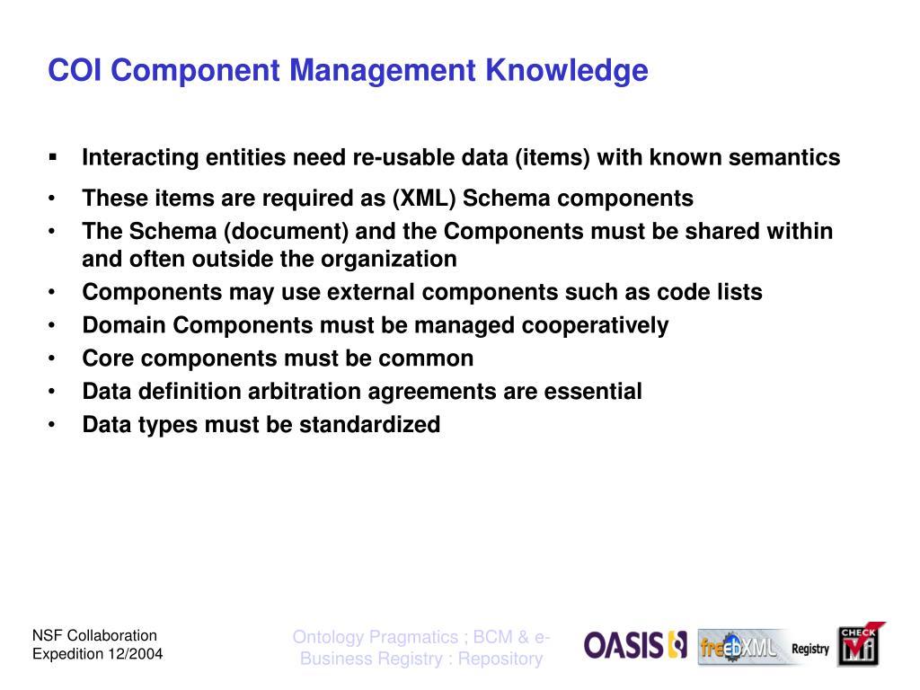 COI Component Management Knowledge
