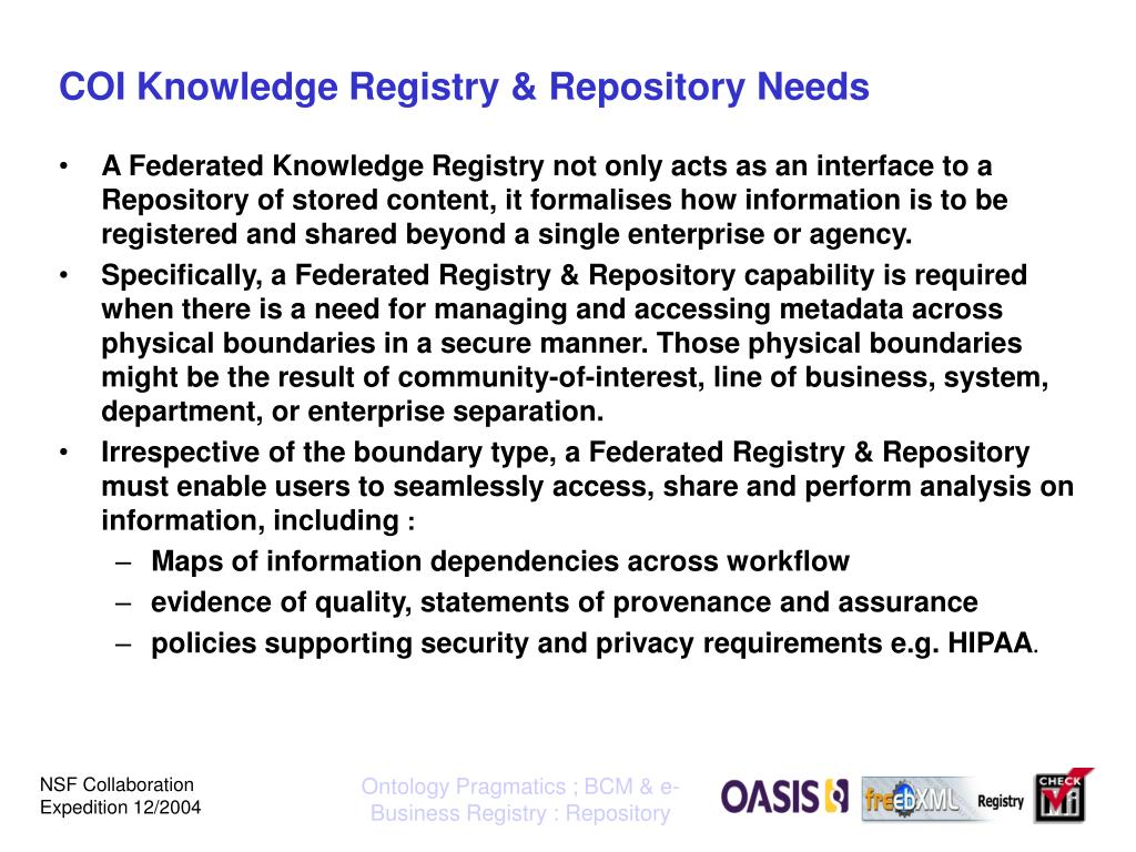 COI Knowledge Registry & Repository Needs