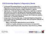 coi knowledge registry repository needs