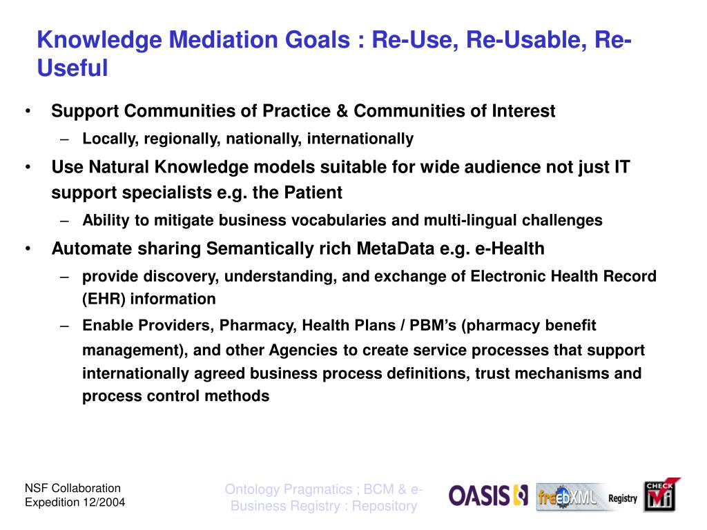 Knowledge Mediation Goals : Re-Use, Re-Usable, Re-Useful