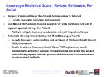 knowledge mediation goals re use re usable re useful