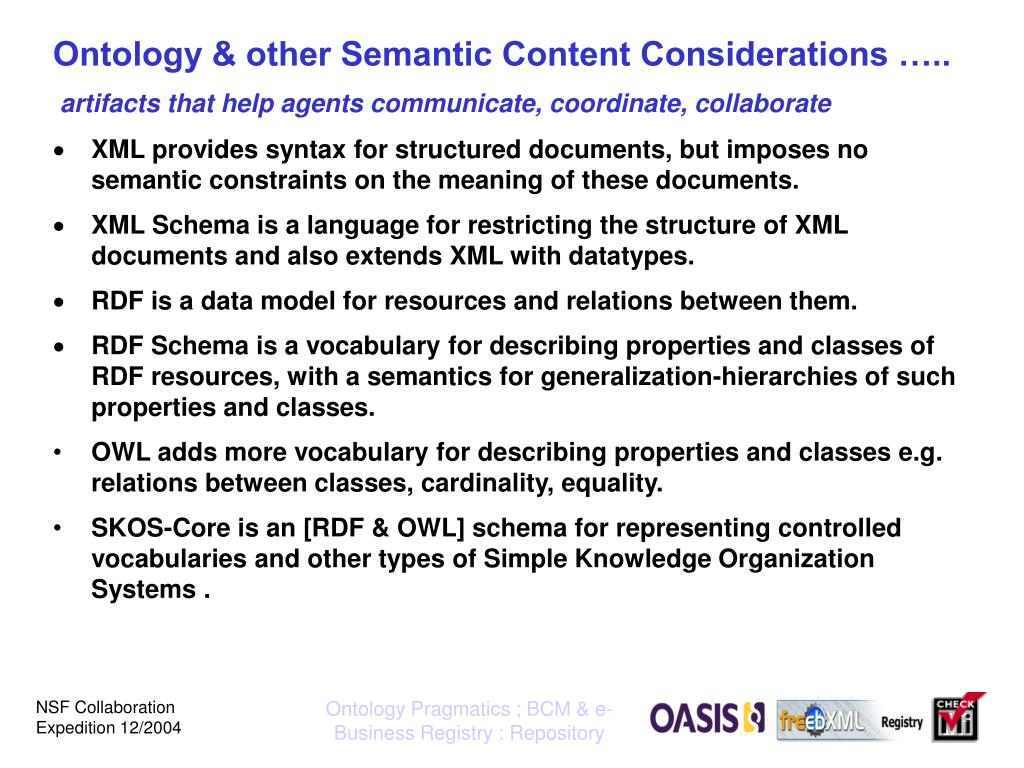 Ontology & other Semantic Content Considerations …..