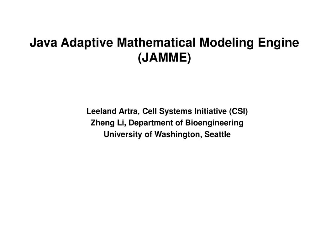 java adaptive mathematical modeling engine jamme l.