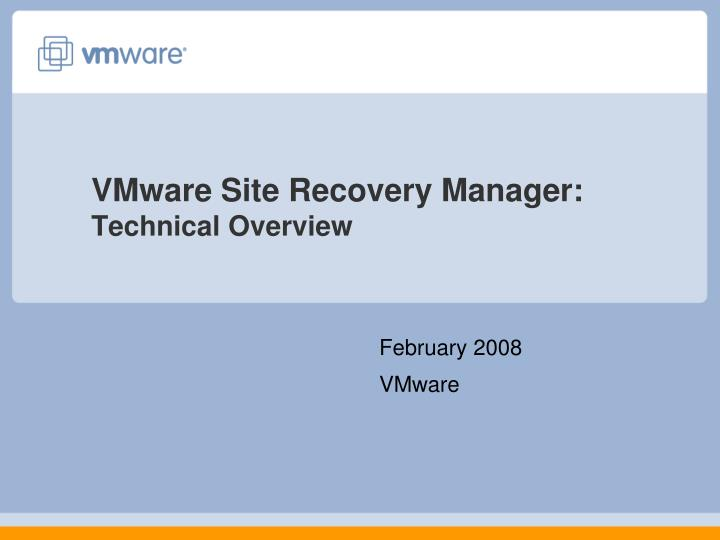 vmware site recovery manager technical overview n.