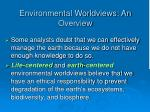 environmental worldviews an overview