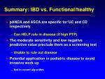 summary ibd vs functional healthy