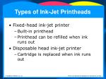 types of ink jet printheads