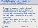 potential exposures are relevant for occupational dose monitoring