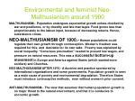 environmental and feminist neo malthusianism around 1900