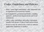 codes guidelines and policies