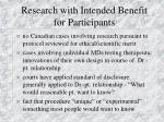 research with intended benefit for participants