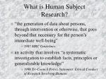 what is human subject research