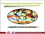 normalized annual mean precipitation changes in cmip2 greenhouse warming experiments