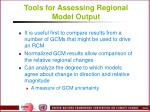 tools for assessing regional model output