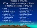 process of trauma 35 of symptoms on regular basis indicates presence of trauma