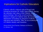 implications for catholic educators