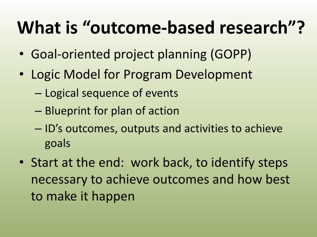 what is outcome based research l.