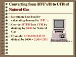 converting from btu s h to cfh of natural gas