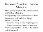 grievance procedure prior to arbitration
