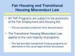fair housing and transitional housing misconduct law
