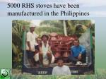5000 rhs stoves have been manufactured in the philippines