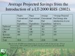 average projected savings from the introduction of a lt 2000 rhs 2002