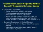 overall observations regarding medical specialty requirements versus supply