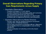overall observations regarding primary care requirements versus supply