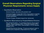 overall observations regarding surgical physician requirements versus supply