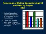 percentage of medical specialists age 60 and older by region 2007