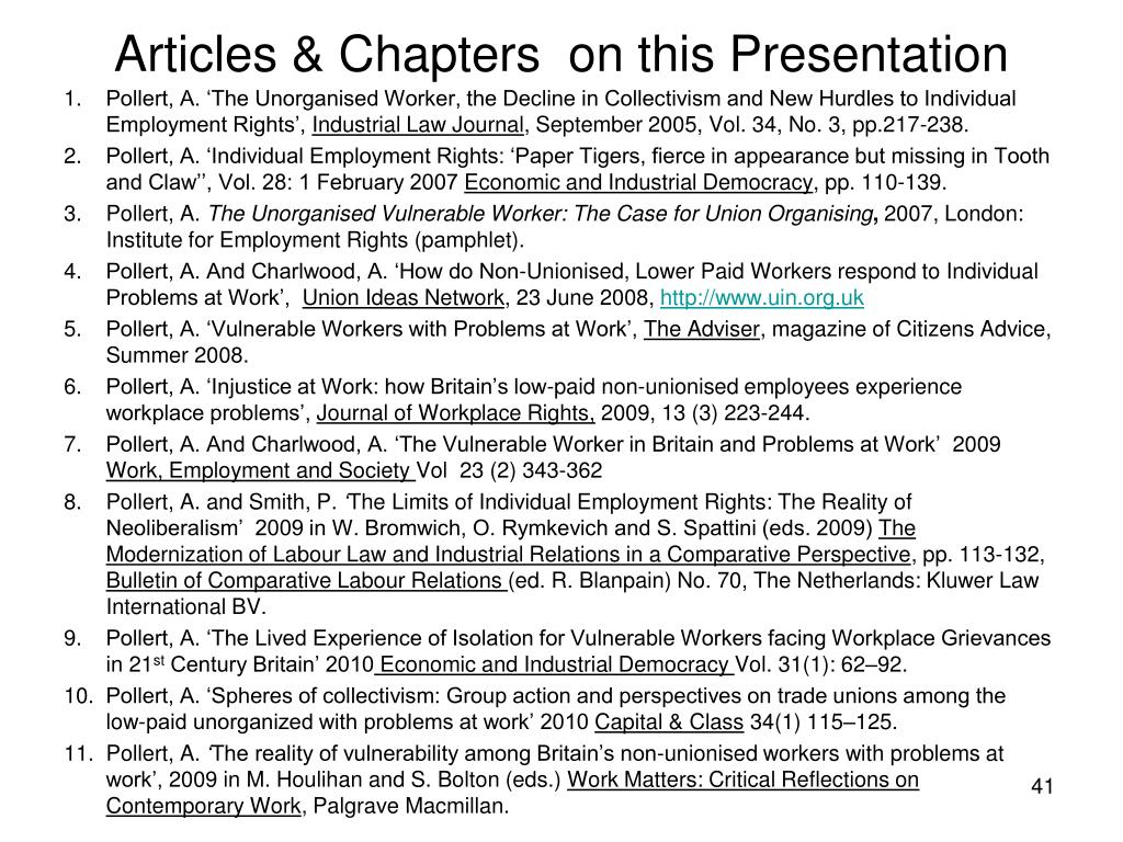 Articles & Chapters  on this Presentation