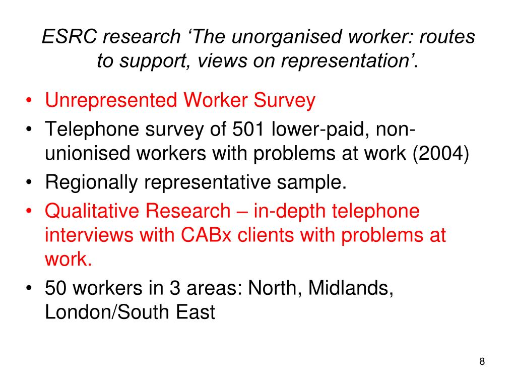 ESRC research 'The unorganised worker: routes to support, views on representation'.