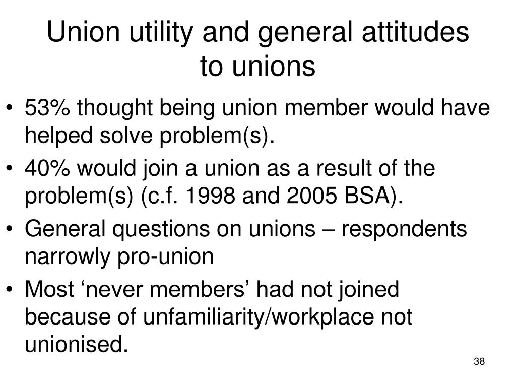 Union utility and general attitudes to unions