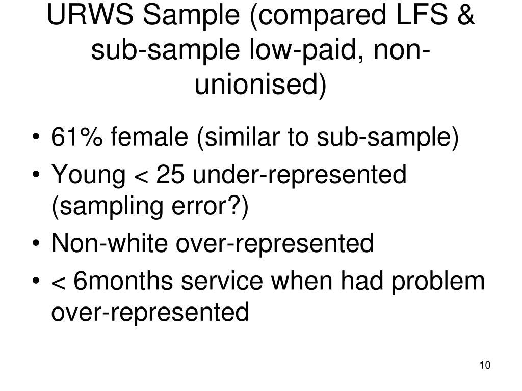 URWS Sample (compared LFS & sub-sample low-paid, non-unionised)