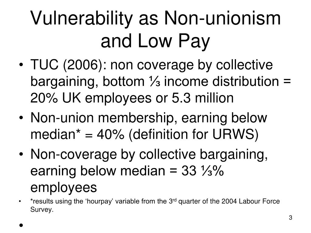 Vulnerability as Non-unionism and Low Pay