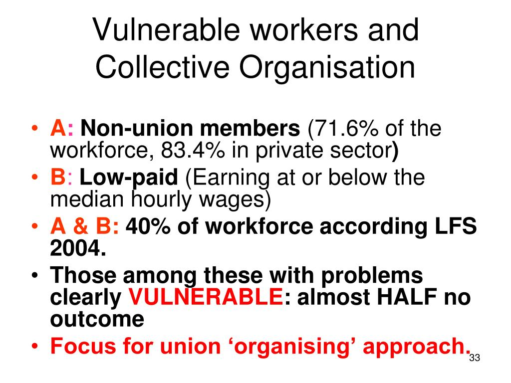 Vulnerable workers and Collective Organisation