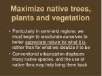 maximize native trees plants and vegetation