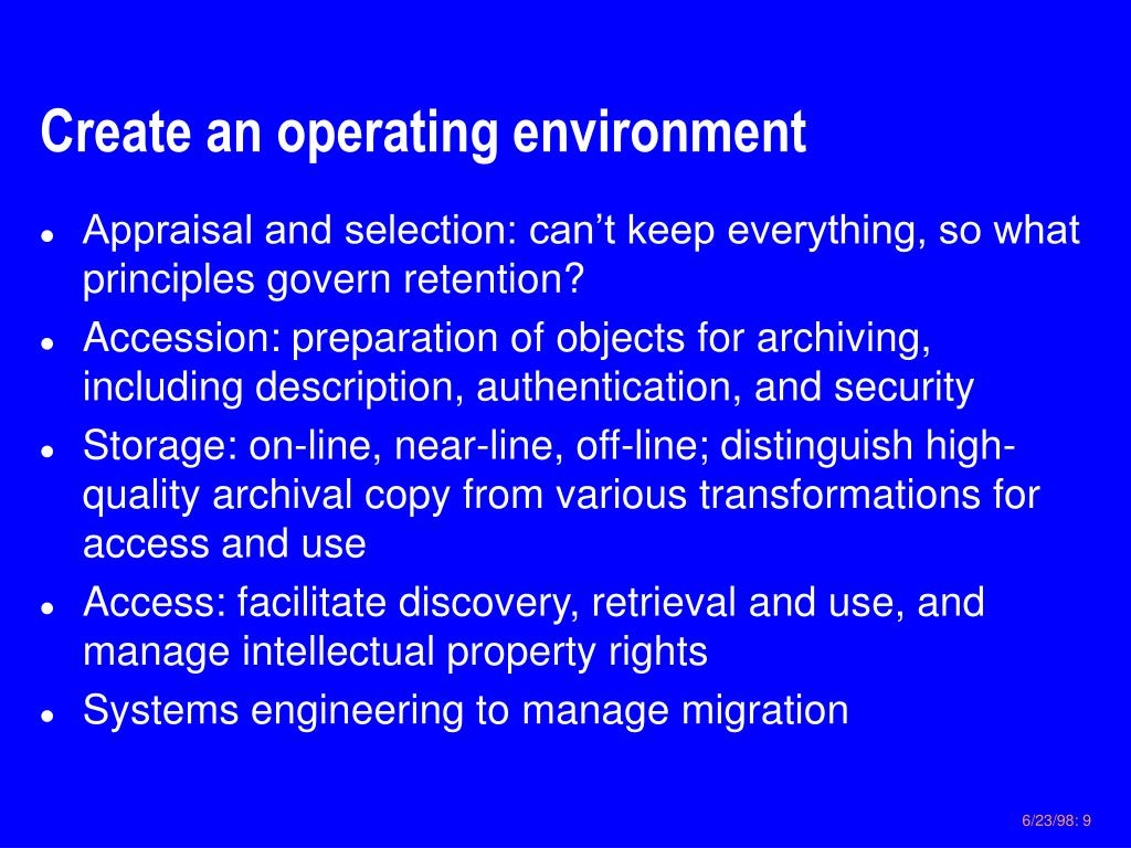 Create an operating environment
