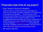 preservation state of the art say prayers