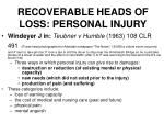 recoverable heads of loss personal injury