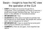 swain insight to how the hc view the operation of the cla29
