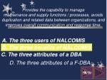 d the three attributes of a f dba