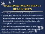 nalcomis online menu help screen