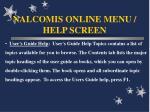nalcomis online menu help screen43