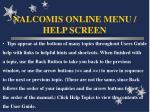 nalcomis online menu help screen44